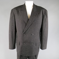 YOHJI YAMAMOTO M Charcoal Textured Wool Blend Striped Double Breasted Suit