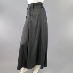 YOHJI YAMAMOTO Size 2 Black Cotton / Rayon Extreme Wide Leg Dress Pants