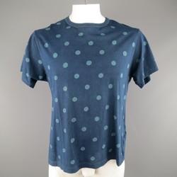 YOHJI YAMAMOTO Size L Navy Polkadot Washed Cotton T-shirt