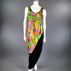 YOHJI YAMAMOTO Size M Psychedelic Glitch Damnation Print Draped Maxi Dress 2011