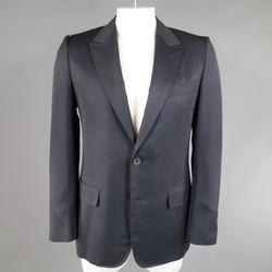 YVES SAINT LAURENT 40 Regular Navy Wool Peak Lapel Sport Coat