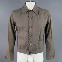 YVES SAINT LAURENT 40 Taupe Cotton Denim Cropped Trucker Jacket