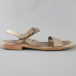 YVES SAINT LAURENT Size 11.5 Taupe Gray Leather Ankle Harness Sandals