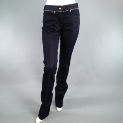 YVES SAINT LAURENT Size 4 Navy Sparkle Denim Zipper Detail Dress Pants