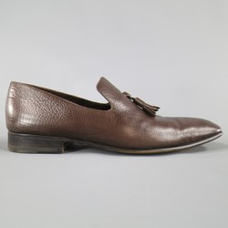 YVES SAINT LAURENT Size 7.5 Brown Leather Tassel Loafers
