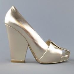 YVES SAINT LAURENT Size 7.5 Metallic Gold Leather Cutout Thick Heel Pumps