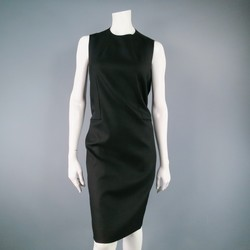 YVES SAINT LAURENT Size 8 Black Wool Raw Edge Pleated Back Dress
