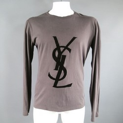 YVES SAINT LAURENT Size L Taupe Cotton Long Sleeve Velvet YSL Print T-Shirt