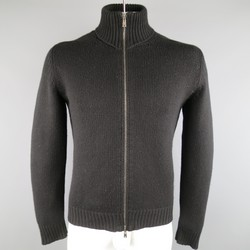 YVES SAINT LAURENT Size M Black Knitted Cashmere Zip Cardigan