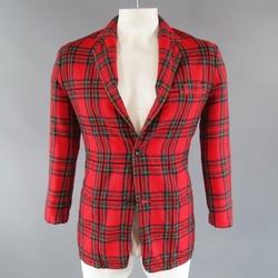 Y's by YOHJI YAMAMOTO 40 Red Wool Plaid Pattern Sport Coat