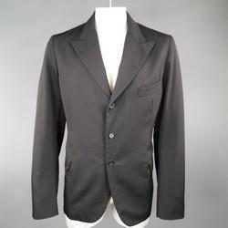 Y's by YOHJI YAMAMOTO 42 Black Wool Peek Lapel Sport Coat