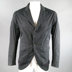 ZIGGY CHEN 40 Charcoal & Black Cotton Notch Lapel Cutout Pocket Jacket