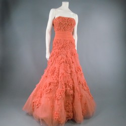 ZUHAIR MURAD Size 4 Salmon Rose Silk Tulle Strapless Evening Gown