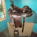 "15"" Dk. Oiled Leather FQHB USED Good Roper Saddle"