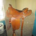 "Billy Long 16"" Lt. Oil Leather SQHB Basketweave USED Good Pleasure Saddle"