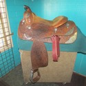 "Blue Ribbon 16"" Dk. Oiled Leather USED Excellent Show Saddle"