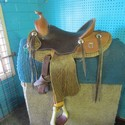 """14"""" Brown Leather SQHB USED Excellent Pleasure Saddle"""