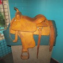 "Buss Fraser Lt. Oiled Leather SQHB 16"" Horse USED Good Pleasure Saddle"