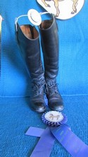 Ariat 7 Black Leather USED - Good Field Boots - Laced