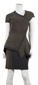 Yigal-Azrouel-NWT-Gray-and-Brown-Knit-Peplum-Dress-Sz-Medium_21518A.jpg